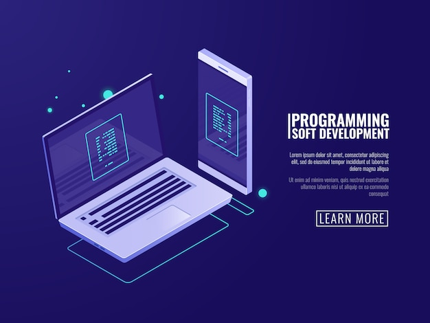 Programação e desenvolvimento de programas de computador, aplicação móvel Vetor grátis