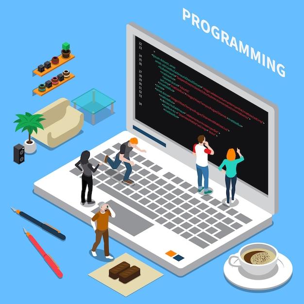 Programação isométrica em miniatura Vetor grátis