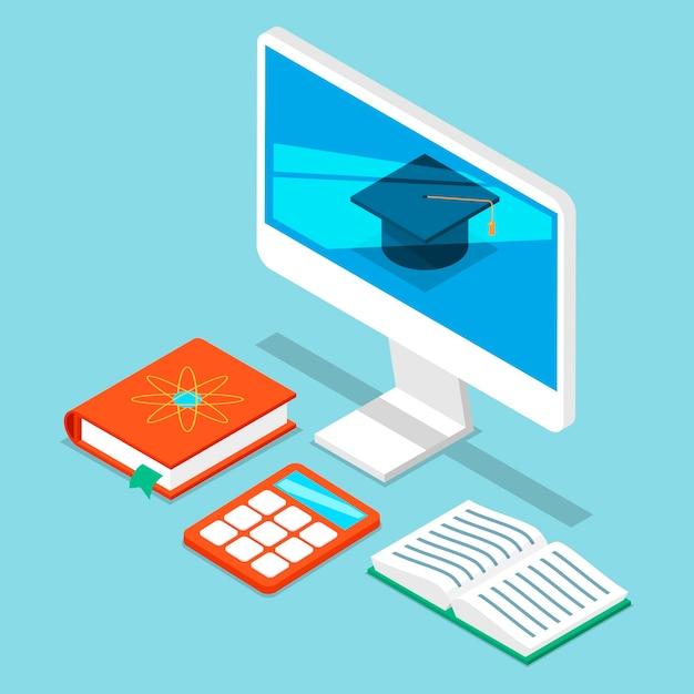 Programador de auto-educação, análise de negócios. monitor de computadores com chapéu de faculdade, livros e calculadora para a ciência da auto-educação on-line. Vetor Premium