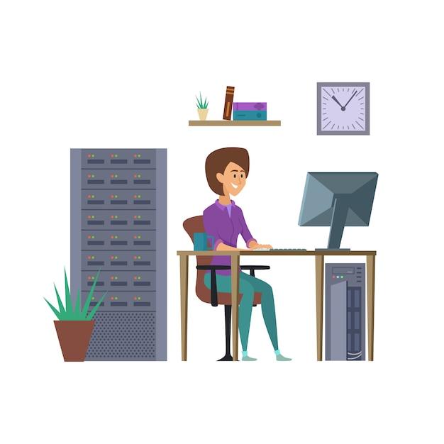 Programador feminino. personagem de desenvolvedor de ti com ilustração de computador Vetor Premium
