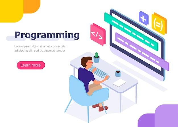 Programador no trabalho. Vetor Premium