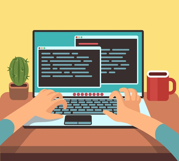 Programador pessoa trabalhando no laptop pc com código de programa na tela. codificação e programação conceito de vetor. ilustração do software de programação do desenvolvedor, tipo de codificação Vetor Premium