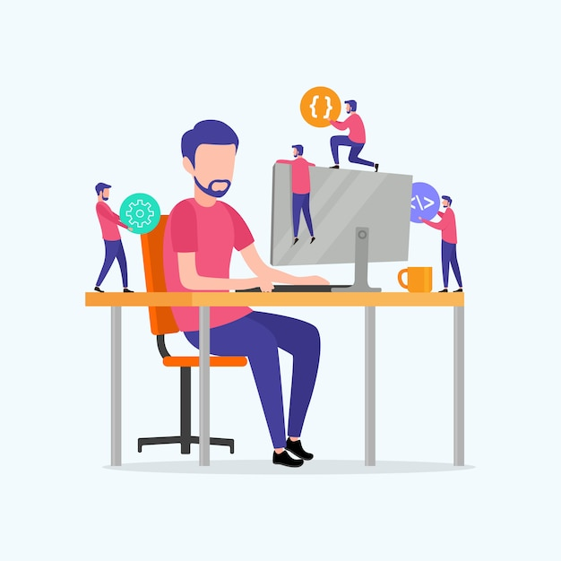 Programadores codificam o site no computador Vetor Premium