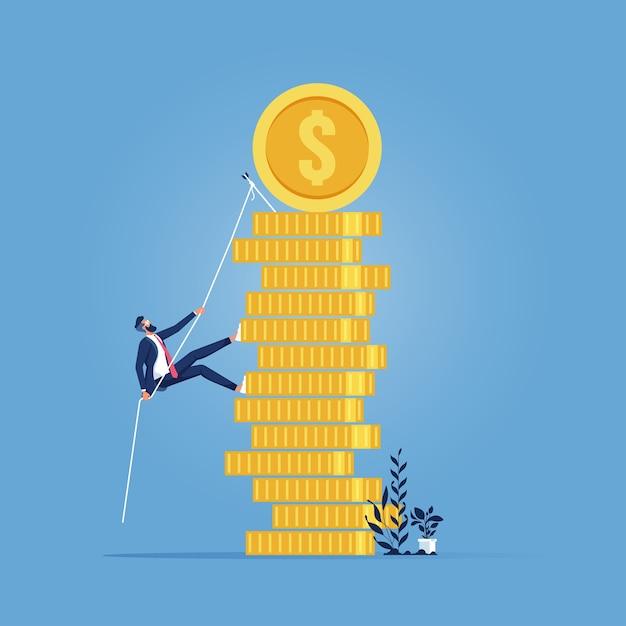 Progresso dos negócios, crescimento, ganho de dinheiro, plano de carreira para o sucesso, empresário escalando uma pilha de moedas Vetor Premium
