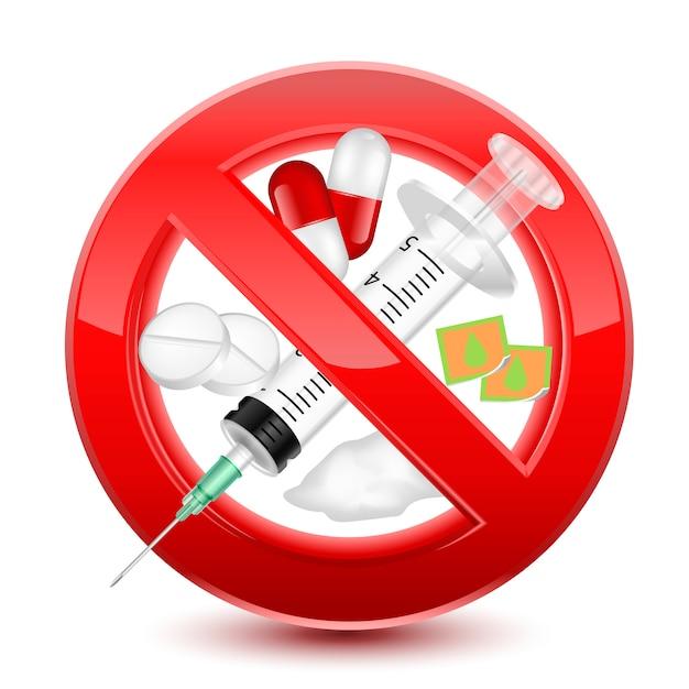 Proibido não drogas sinal vermelho Vetor Premium