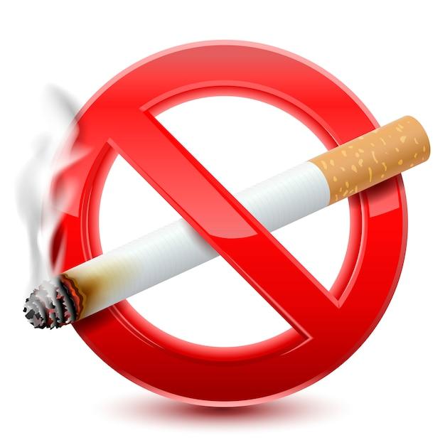 Proibido não fumar sinal vermelho Vetor Premium