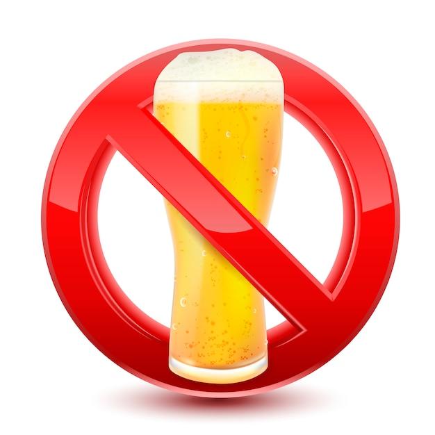Proibido nenhum sinal vermelho de cerveja Vetor Premium