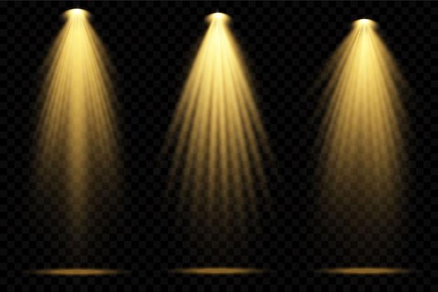 Projectores amarelos. cena. efeitos transparentes de luz. Vetor Premium