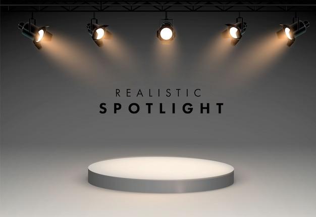 Projectores com luz brilhante branco brilhando conjunto de vetor de palco. ilustração de projetor para estúdio Vetor Premium