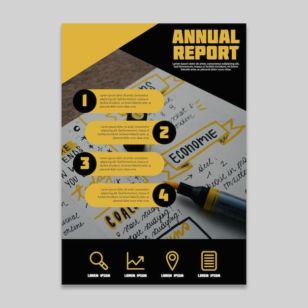 Projetar relatório anual com caligrafia Vetor grátis