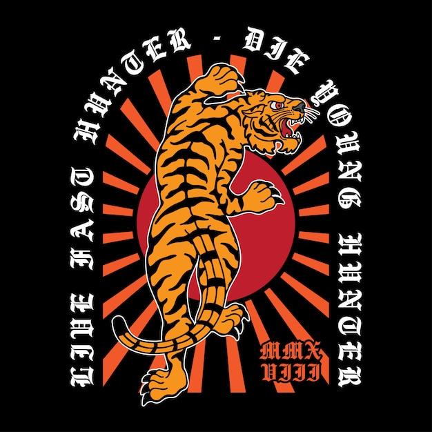 Projete o pano tradicional do tigre da tatuagem Vetor Premium