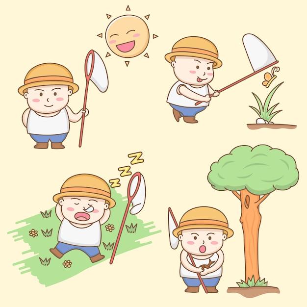 Projete o vetor dos elementos dos personagens de banda desenhada gordos bonitos do menino que jogam em torno do jardim. Vetor Premium