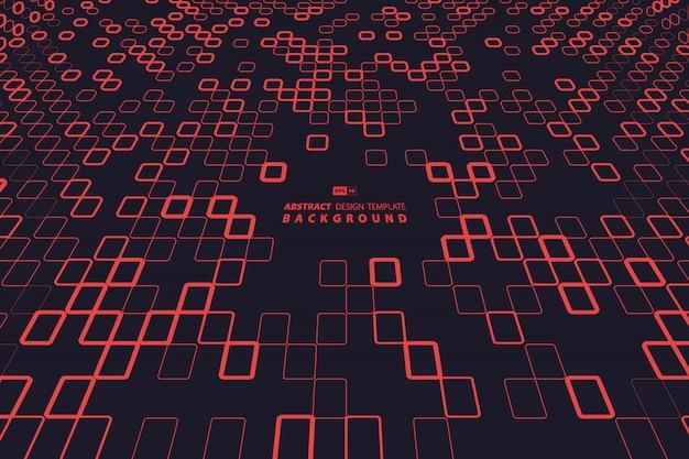 Projeto abstrato tecnologia quadrado vermelho Vetor Premium