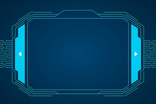Projeto azul do fundo do hud da relação da tecnologia de circuito. Vetor Premium