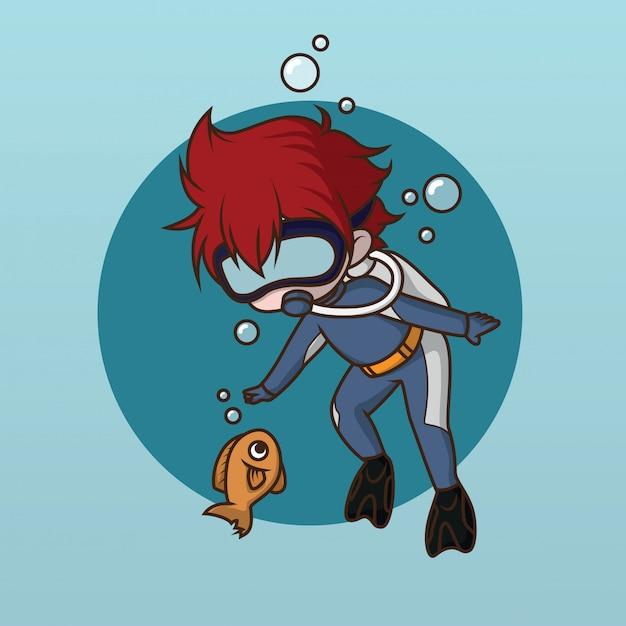 Projeto bonito do caráter do mergulhador da água Vetor Premium