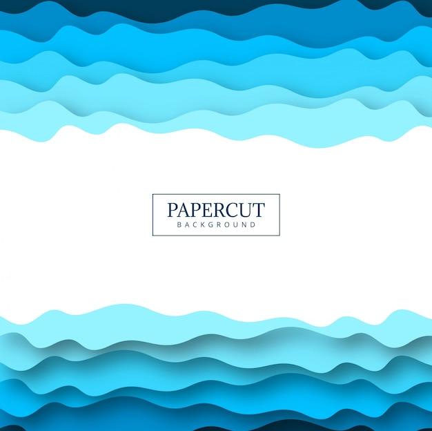 Projeto colorido azul abstrato papercut Vetor Premium