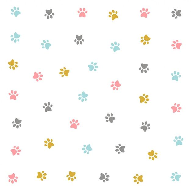 Projeto colorido bonito do teste padrão do pow do gatinho Vetor grátis