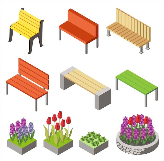 Projeto colorido de ícones isométricos dispostos com bancos e canteiros de flores para projeto de cidade isolado no branco. Vetor Premium
