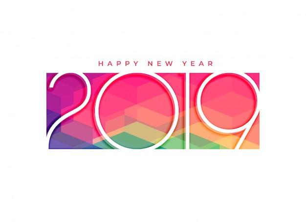 Projeto colorido do fundo do ano novo feliz 2019 Vetor grátis