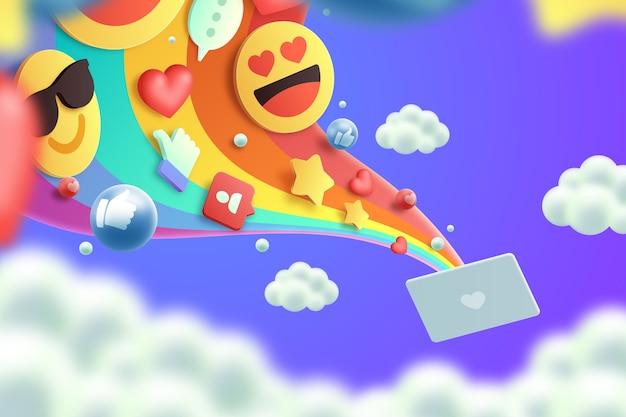 Projeto colorido do fundo dos emojis 3d Vetor grátis