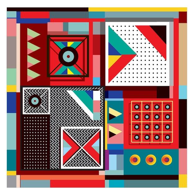 Projeto colorido dos elementos geométricos na moda de memphis Vetor Premium