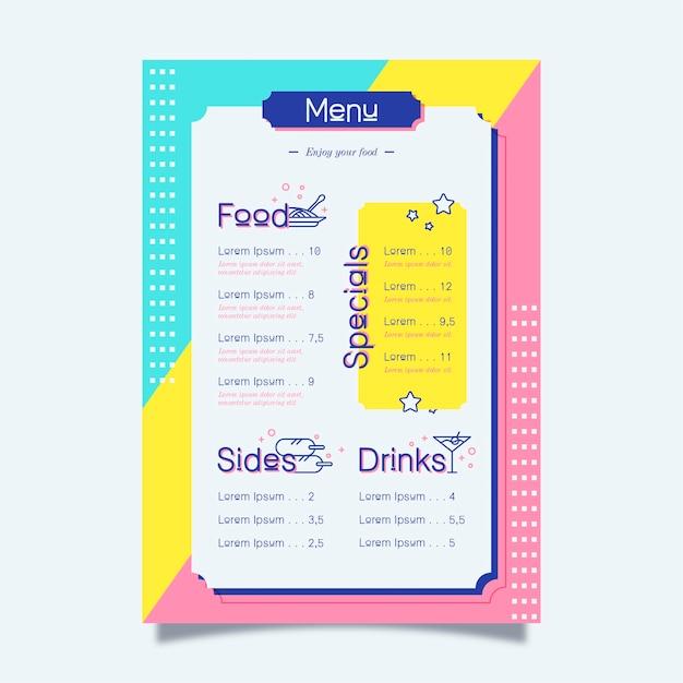 Projeto colorido para o modelo de menu de restaurante Vetor grátis