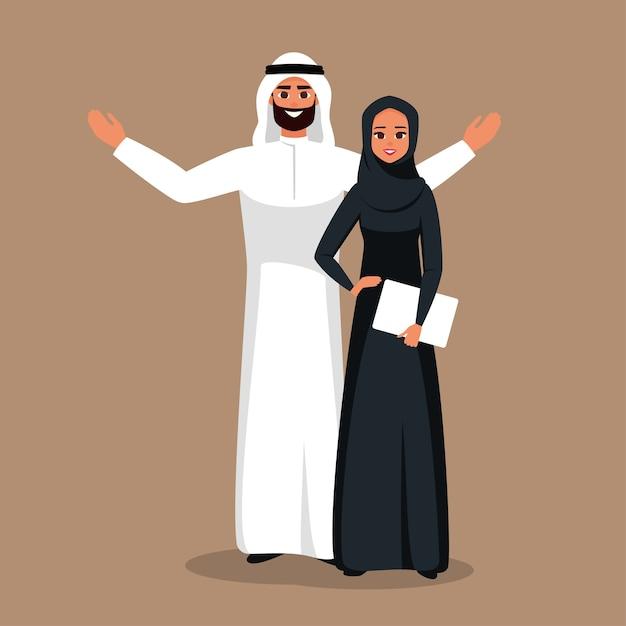 Projeto com negócios de personagens de desenhos animados pessoas muçulmanas na ilustração de roupas tradicionais. equipe de negócios árabe de homem e mulher. Vetor Premium