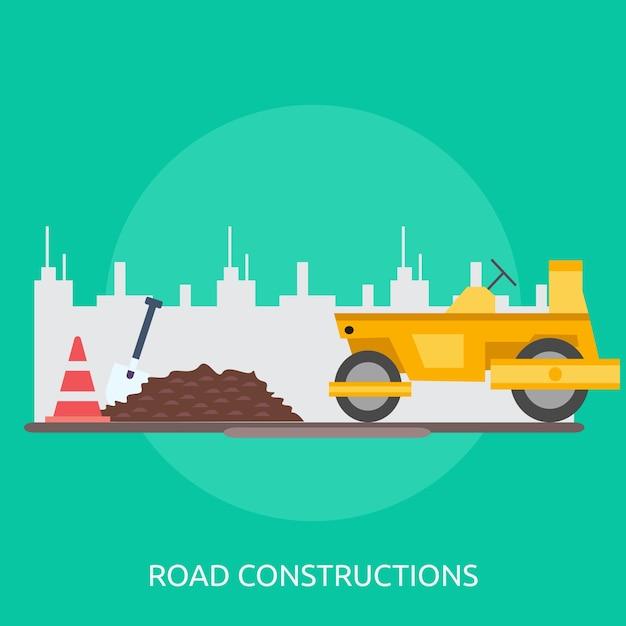 Projeto conceptual de construção rodoviária Vetor Premium