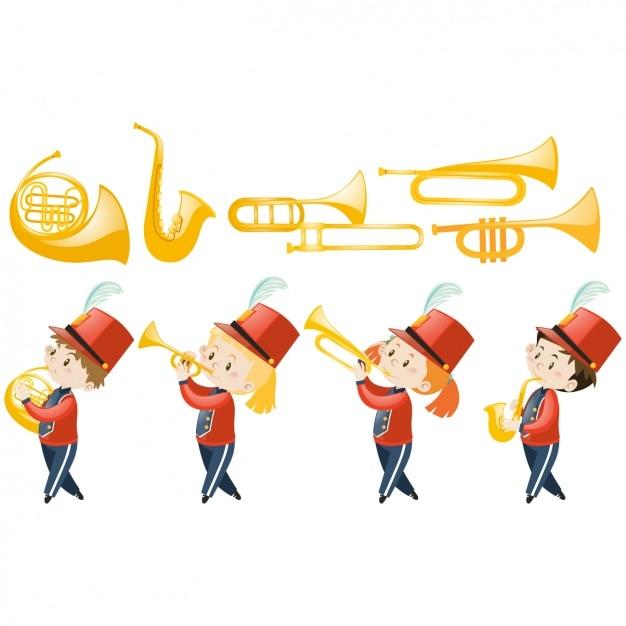 Projeto crianças banda de música Vetor grátis
