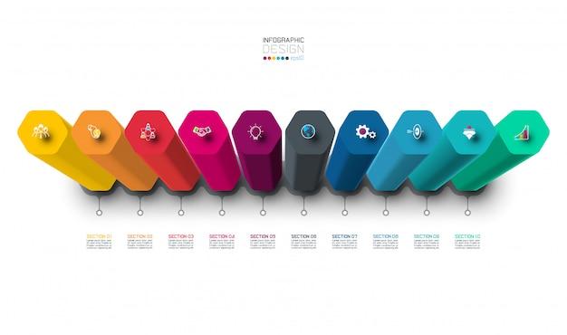 Projeto da etiqueta de infographic do vetor com colunas do hexágono. Vetor Premium