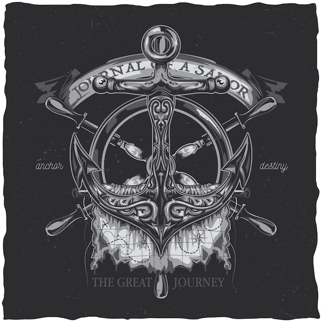 Projeto da etiqueta do t-shirt náutico com ilustração da âncora. Vetor grátis