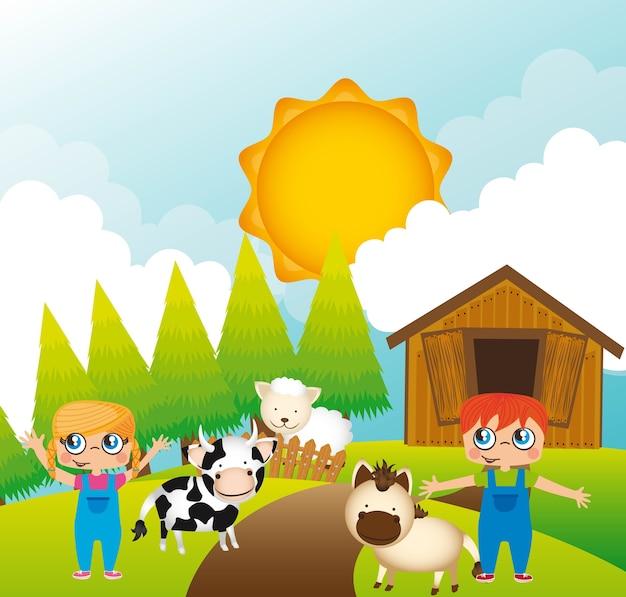 Projeto da fazenda Vetor Premium