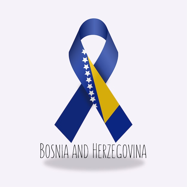 Projeto da fita da bandeira da bósnia e herzegovina Vetor grátis
