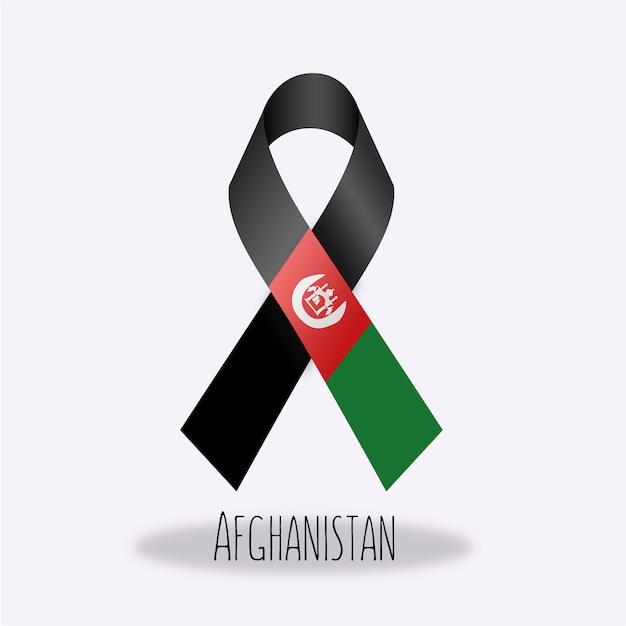 Projeto da fita da bandeira de afganistan Vetor grátis