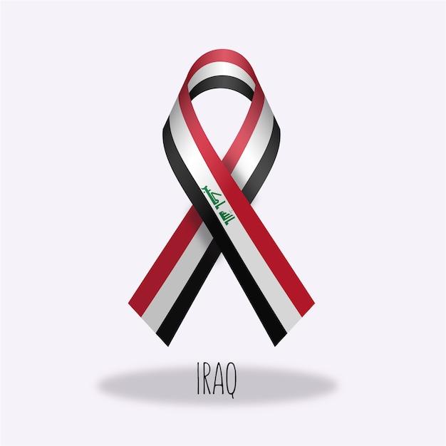 Projeto da fita da bandeira de iraque Vetor grátis