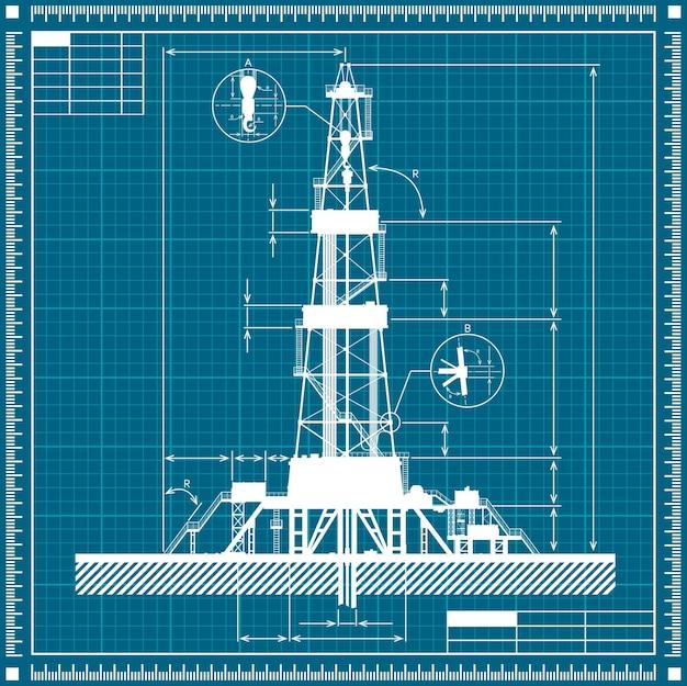 Projeto da ilustração da silhueta da plataforma de petróleo Vetor Premium