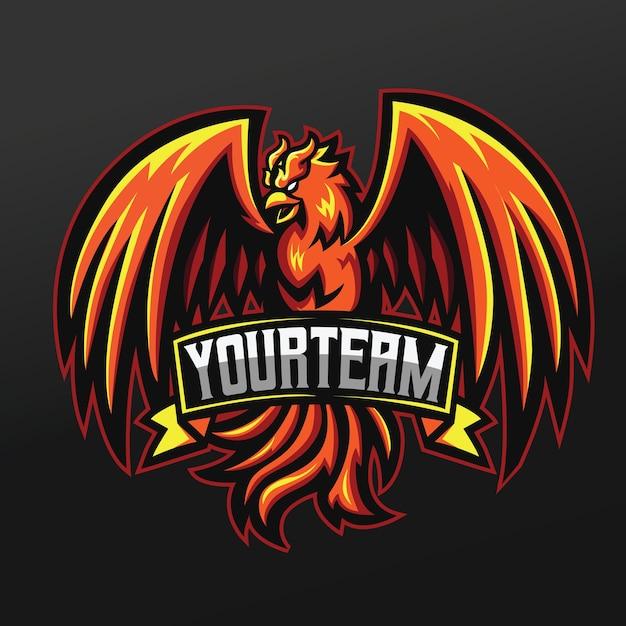 Projeto da ilustração do esporte da mascote do phoenix orange bird para a equipe de jogos da logo esport Vetor Premium