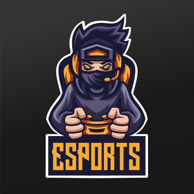 Projeto da ilustração do esporte da mascote dos jogadores do ninja para o time de jogos logo esport Vetor Premium