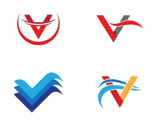 Projeto da ilustração do símbolo da letra v Vetor Premium
