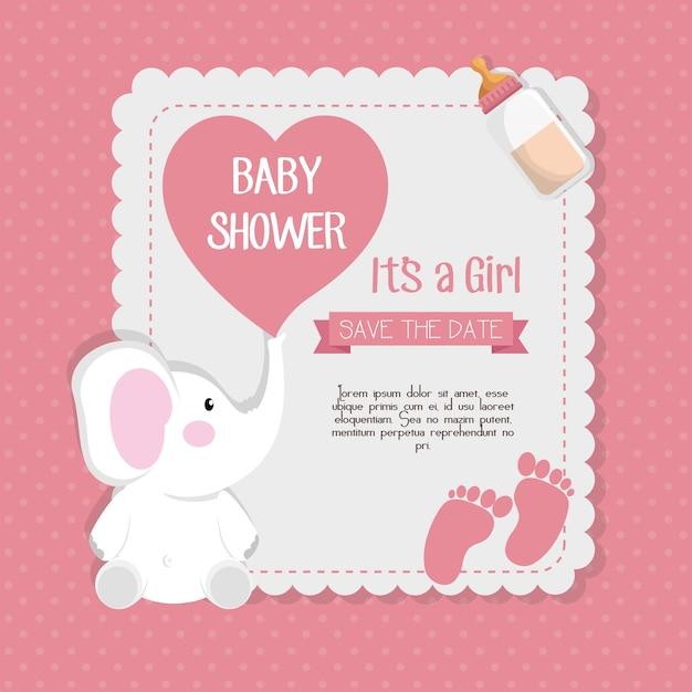 Projeto da ilustração do vetor do cartão do convite do chuveiro de bebê Vetor Premium