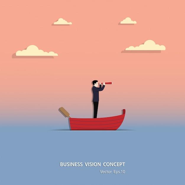 Projeto da ilustração do vetor do conceito da visão do negócio Vetor Premium