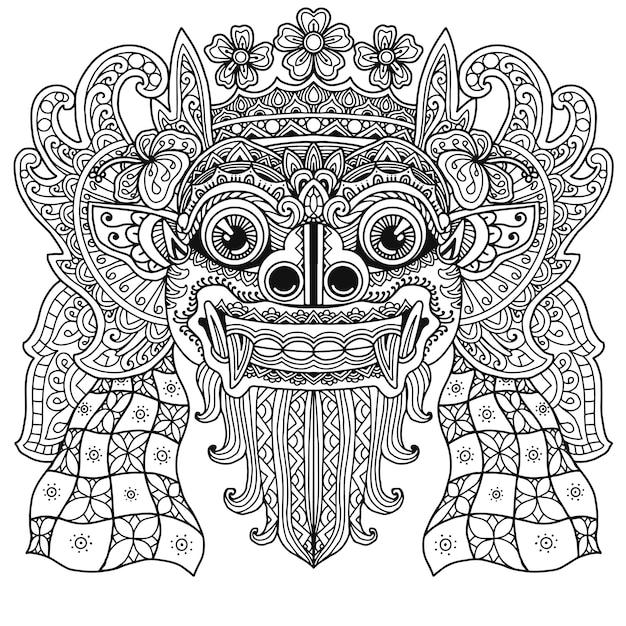 Projeto da mandala do livro de colorir de barong de bali Vetor Premium