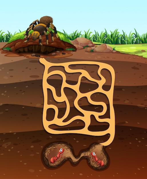 Projeto da paisagem com formigas no subsolo Vetor grátis
