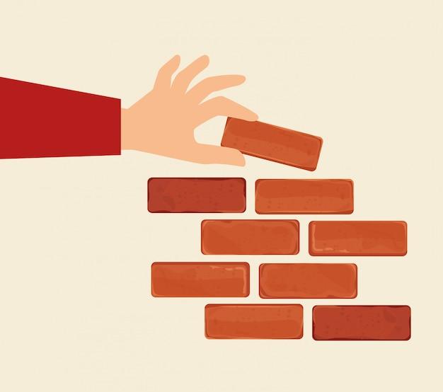 Projeto da parede de tijolo. Vetor Premium
