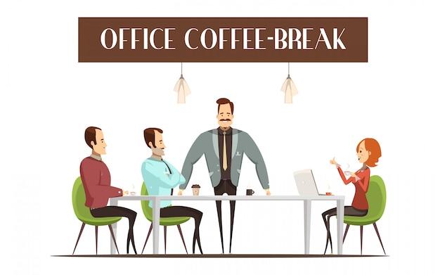 Projeto da ruptura de café do escritório com mulher alegre Vetor grátis