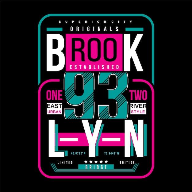 Projeto da tipografia de brooklyn Vetor Premium