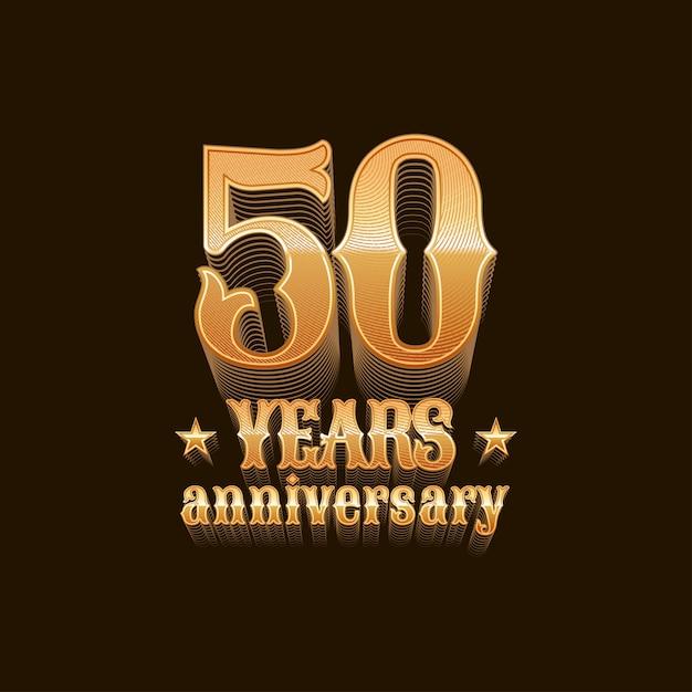 Projeto de aniversário de 50 anos, sinal em ouro Vetor Premium
