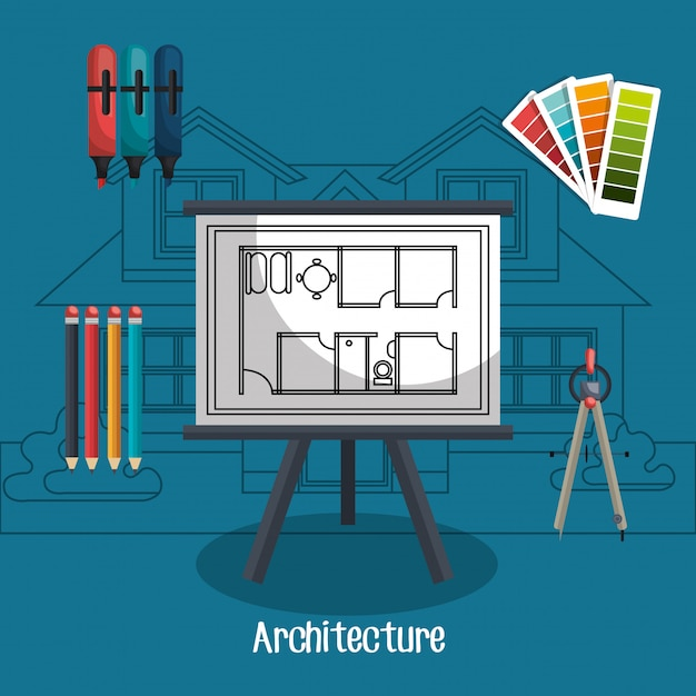 Projeto de arquitetura Vetor grátis
