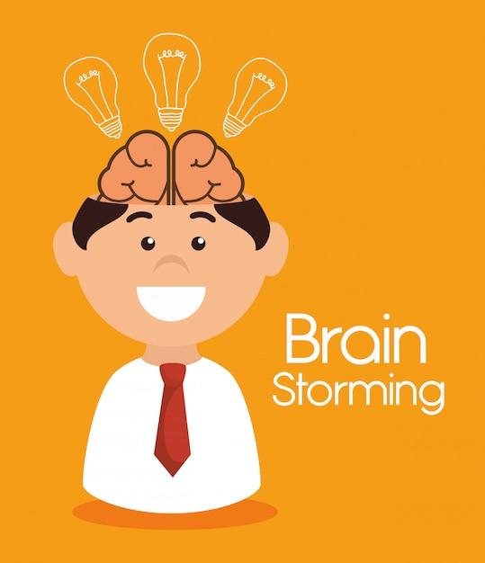 Projeto de ataque cerebral Vetor Premium
