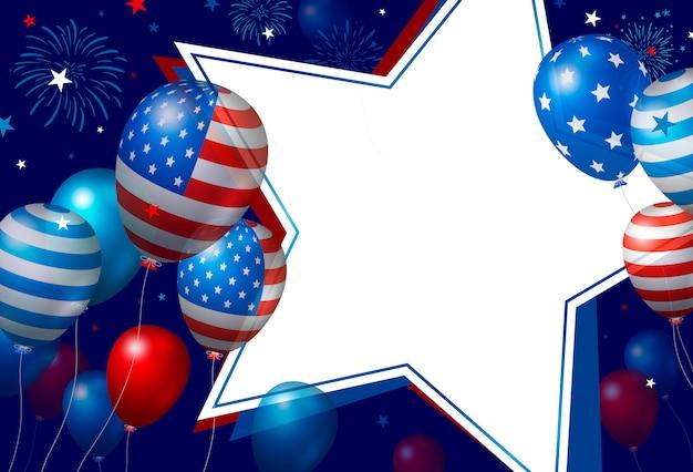 Projeto de bandeira eua de balões e papel branco em branco estrela com fogos de artifício Vetor Premium